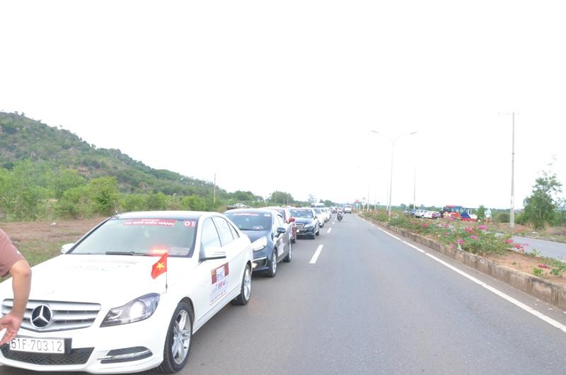 Thăm quan cánh đồng cừu. Đoàn xe được dừng đỗ chính xác, thẳng hàng và đảm bảo an toàn giao thông.